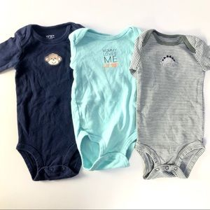 3 carters long sleeve onesies